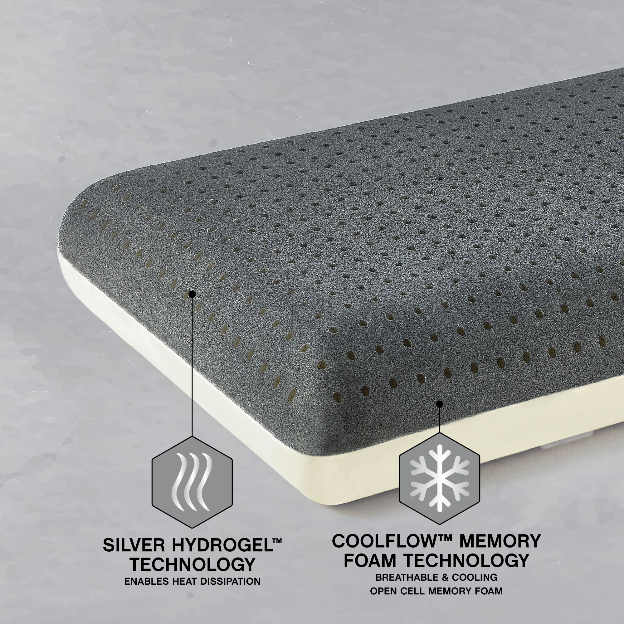 Great Sleep 174 Silver Gel Coolflow Memory Foam Pillow
