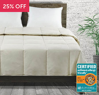 Live Comfortably® Organic Cotton Sateen Down Certified Asthma & Allergy Friendly® Comforter - Save 25%